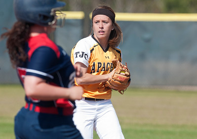 photo by Sarah A. Miller/Tyler Morning Telegraph  Tyler Junior College's (3) Haley Mills catches a ball at first base during their game against Hill College at Schwab Softball Complex in Bullard Wednesday Feb. 11, 2015.