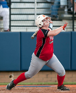 Mineola's Sister Green watches the ball fly after she hits it during the Fellowship of Christian Athletes All-Star softball game Friday night at the University of Texas at Tyler's Suddenlink Field.  (photo by Sarah A. Miller/Tyler Morning Telegraph)