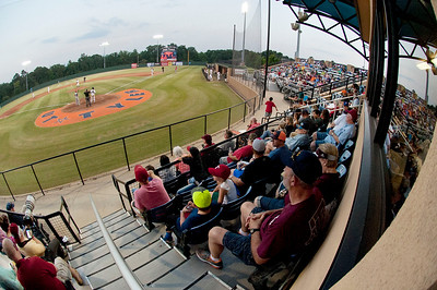 Fans watch the Pump Jack's first home game Thursday June 4, 2015 at Irwin Field n the campus of The University of Texas at Tyler in Tyler, Texas. They played against the Acadiana Cane Cutters and will face them again Friday night. They play Brazos Valley Bombers Saturday and Sunday at Irwin Field. The Pump Jacks, a Texas Collegiate Wooden Bat League, are playing their first season in Tyler after moving from nearby Kilgore.   (photo by Sarah A. Miller/Tyler Morning Telegraph)