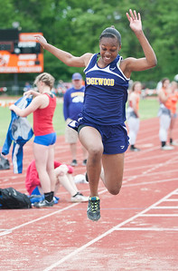 photo by Sarah A. Miller/Tyler Morning Telegraph  Edgewood sophomore Demiya Warren competes in the long jump event during the District 14-3A Track and Field meet Wednesday April 15, 2015 held in Mineola.