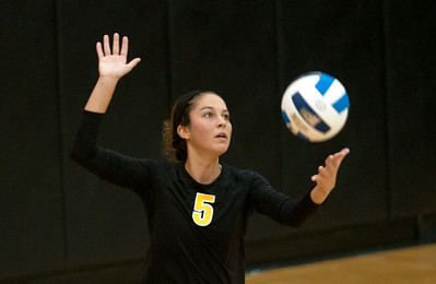 photo by Sarah A. Miller/Tyler Morning Telegraph  Tyler Junior College's (5) Emily Shelton serves the ball during their game Friday at Wagstaff Gymnasium against Colby Community College in the Dana Hatch Invite.