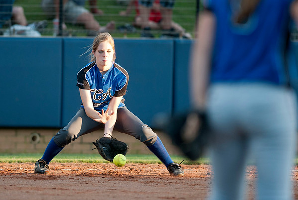 Waskom's Dallas Crocker warm up between innings during the Fellowship of Christian Athletes All-Star softball game Friday night at the University of Texas at Tyler's Suddenlink Field.  (photo by Sarah A. Miller/Tyler Morning Telegraph)