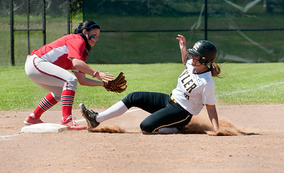 photo by Sarah A. Miller/Tyler Morning Telegraph  Tyler Junior College's (10) Ashlin Roach slides safe into third base before Northeast Texas Community College's Kaitlyn Crockett can make the tag Wednesday in Bullard.