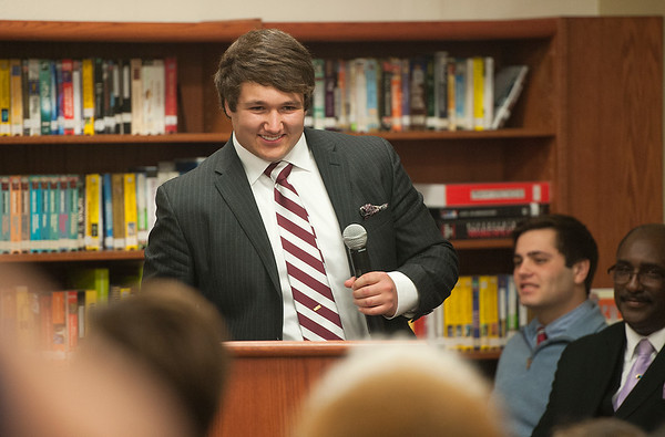 photo by Sarah A. Miller/Tyler Morning Telegraph  Bishop Thomas K. Gorman Regional Catholic School football player Joseph Goodwin speaks during the NCAA National Signing Ceremony at his school Tuesday. Goodwin will attend Trinity University.