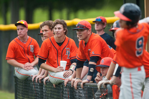 photo by Sarah A. Miller/Tyler Morning Telegraph  The Brook Hill School baseball players watch their batter from the dugout in the fifth inning at their game at All Saints Episcopal School Thursday.