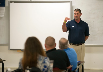 New Robert E. Lee High School head baseball coach James Boxley introduces himself to players, parents and members of the baseball booster club Tuesday afternoon at the school's field house. Boxley has 21 years of coaching experience and has worked at Stephenville ISD since 2010.  (photo by Sarah A. Miller/Tyler Morning Telegraph)