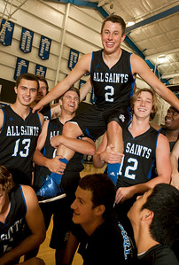 All Saints Episcopal School basketball team senior Aston Francis is lifted up by his teammates. Francis is the All-East Texas MVP.  (photo by Sarah A. Miller/Tyler Morning Telegraph)