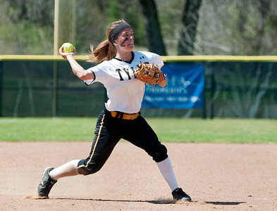 photo by Sarah A. Miller/Tyler Morning Telegraph  Tyler Junior College's (3) Haley Mills throws the ball to first base in the fourth inning during their softball game against  Northeast Texas Community College Wednesday in Bullard.