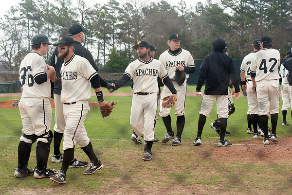 photo by Sarah A. Miller/Tyler Morning Telegraph  Tyler Junior College baseball players shake hands after winning the first game of their doubleheader Friday against Vernon College at Mike Carter Field in Tyler.