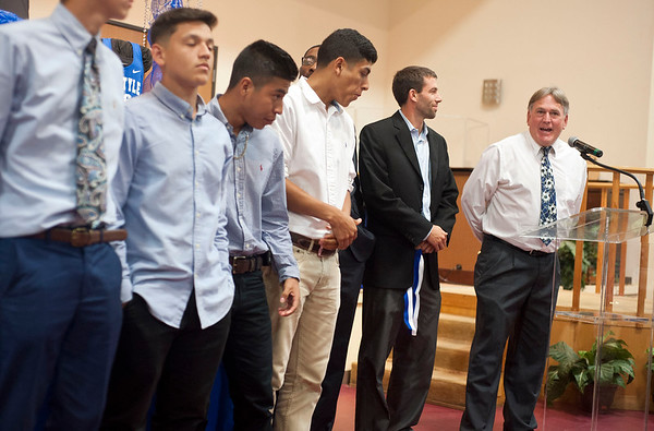 Boys soccer coach Howard Story talks about his team's season during the John Tyler High School sports banquet Thursday night at St. Louis Baptist Church in Tyler.  (photo by Sarah A. Miller/Tyler Morning Telegraph)