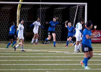 photo by Sarah A. Miller/Tyler Morning Telegraph  Lindale's (19) Taylor Webb celebrates after scoring a goal during their game Friday night against John Tyler at Trinity Mother Frances Rose Stadium.