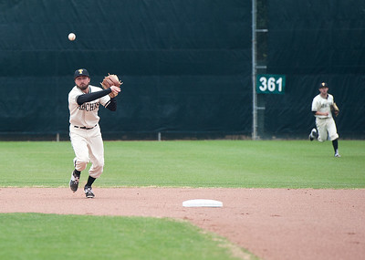 photo by Sarah A. Miller/Tyler Morning Telegraph  Tyler Junior College's (2) Tim Hunter races to throw the ball back to first base during their baseball doubleheader Friday against Vernon College at Mike Carter Field in Tyler.