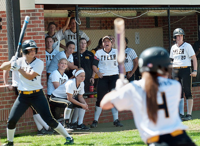 photo by Sarah A. Miller/Tyler Morning Telegraph  The Tyler Junior College softball team watches from the dugout as (4) Jaclyn Molenaar is up to bat in the fourth inning during their softball game against  Northeast Texas Community College Wednesday in Bullard.