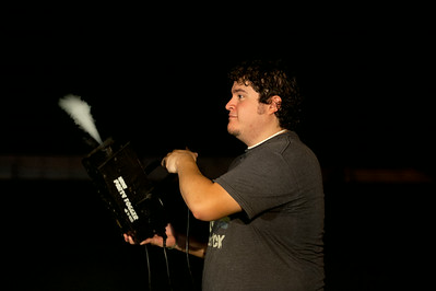 photo by Sarah A. Miller/Tyler Morning Telegraph  Tyler Morning Telegraph staff photographer Victor Texcucano mans the fog machine for the ETFinalScore.com Pigskin Preview magazine. The magazine photos were shot at night at Tyler Junior College's practice football field and soccer field.