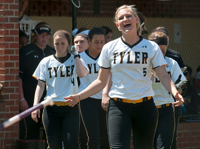 photo by Sarah A. Miller/Tyler Morning Telegraph  Tyler Junior College's (5) Haleigh Moore cheers after teammate Amber Landry makes it home during their softball game against  Northeast Texas Community College Wednesday in Bullard.