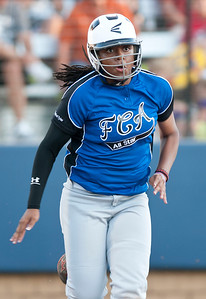 Kilgore's Amber Williams runs safe to first base during the Fellowship of Christian Athletes All-Star softball game Friday night at the University of Texas at Tyler's Suddenlink Field.  (photo by Sarah A. Miller/Tyler Morning Telegraph)