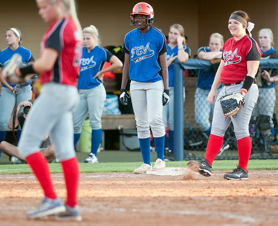 Longview's Kiara Ross is safe at third base during the Fellowship of Christian Athletes All-Star softball game Friday night at the University of Texas at Tyler's Suddenlink Field.  (photo by Sarah A. Miller/Tyler Morning Telegraph)