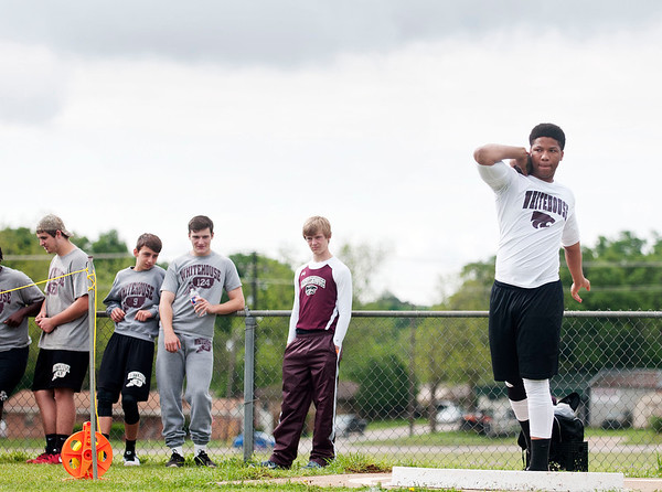 photo by Sarah A. Miller/Tyler Morning Telegraph  Whitehouse sophomore Khyree Key competes in the shot put event during the District 16-5A Track and Field meet Wednesday April 15, 2015 held in Whitehouse.