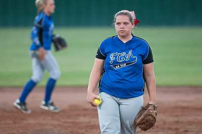 Van's Sierra Nichols stands at the pitcher's mound during the Fellowship of Christian Athletes All-Star softball game Friday night at the University of Texas at Tyler's Suddenlink Field.  (photo by Sarah A. Miller/Tyler Morning Telegraph)