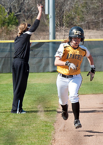 photo by Sarah A. Miller/Tyler Morning Telegraph  Tyler Junior College's (3) Haley Mills runs in to home plate during their game against Hill College at Schwab Softball Complex in Bullard Wednesday Feb. 11, 2015.