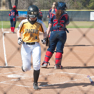 photo by Sarah A. Miller/Tyler Morning Telegraph  Tyler Junior College's (4) Jaclyn Molenaar crosses home plate during their game against Hill College at Schwab Softball Complex in Bullard Wednesday Feb. 11, 2015.