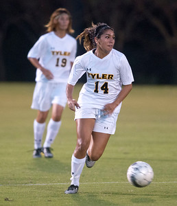Tyler Junior College's Victoria Alaniz dribbles the ball down the field in the first half of their game at home against Navarro College Tuesday night.  (Sarah A. Miller/Tyler Morning Telegraph)