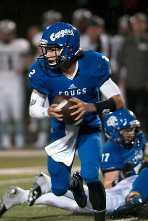 Grace's (2) Christopher Wilhelmi carries the ball as they play Bishop Thomas K. Gorman at Grace Community School Friday Nov. 6, 2015.  (Sarah A. Miller/Tyler Morning Telegraph)