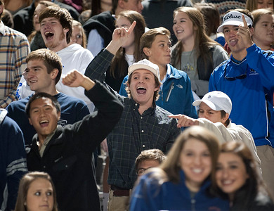 The Grace Community School student section cheers after a touchdown against Houston Second Baptist at Clyde-Perkins Stadium in Tyler Friday Nov. 13, 2015.  (Sarah A. Miller/Tyler Morning Telegraph)
