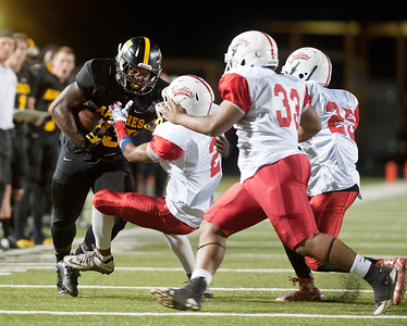 Tyler Junior College's Savon Rollison is pushed out of bounds by Texas Institute of Agriculture and Technology's Demetrius James Saturday night at Trinity Mother Frances Rose Stadium.  (Sarah A. Miller/Tyler Morning Telegraph)