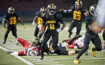 Tyler Junior College's Ryan Parker carries the ball as they play Texas Institute of Agriculture and Technology Saturday night at Trinity Mother Frances Rose Stadium.  (Sarah A. Miller/Tyler Morning Telegraph)