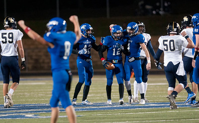 Grace Community School's (12) Blake Holbrook celebrates after recovering the ball from a Houston Second Baptist fumble in the first quarter of their game at Clyde-Perkins Stadium in Tyler Friday Nov. 13, 2015.  (Sarah A. Miller/Tyler Morning Telegraph)