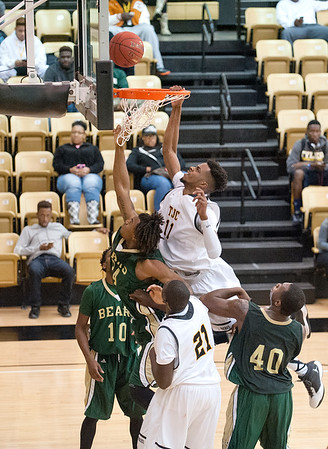 Tyler Junior College's (11) TJ Thomas is fouled by Brookhaven College's (24) Jeremy Hicks as he makes a basket Friday Oct. 30, 2015 at Wagstaff Gymnasium.  (Sarah A. Miller/Tyler Morning Telegraph)
