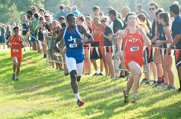 John Tyler's Jacob Owen-Bush nears the finish line in the varsity boys open division 5K during the Tyler Lee Cross County Classic held Saturday morning at the University of Texas at Tyler.   (Sarah A. Miller/Tyler Morning Telegraph)