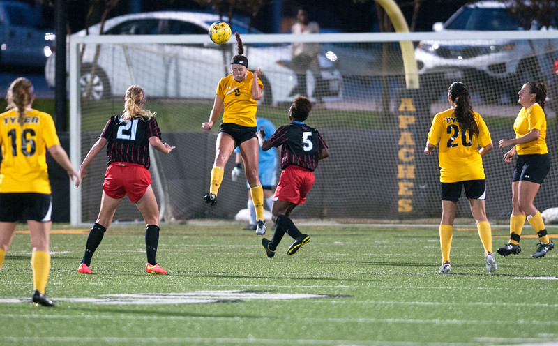 Tyler Junior College's (2) 	Kennedy Rose defends with a header as they play Hill College in the Region XIV soccer tournament at the Pat Hartley Soccer Complex Friday night Nov. 6, 2015.  (Sarah A. Miller/Tyler Morning Telegraph)