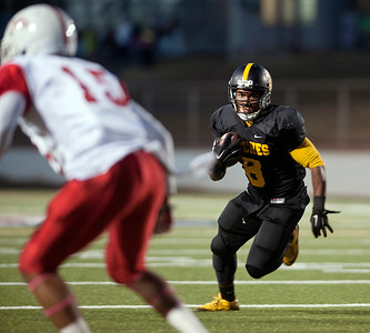 Tyler Junior College's Ken Burks gains on the play as they play Texas Institute of Agriculture and Technology Saturday night at Trinity Mother Frances Rose Stadium.  (Sarah A. Miller/Tyler Morning Telegraph)
