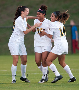 Tyler Junior College's Kelso Peskin, center, celebrates after scoring a goal in the first half of their game at home against Navarro College Tuesday night.  (Sarah A. Miller/Tyler Morning Telegraph)
