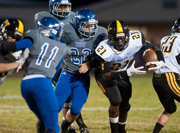 Winona's Deundre Wheeler carries the ball during their game Friday night at at Frankston.  (Sarah A. Miller/Tyler Morning Telegraph)