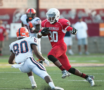 Trinity Valley Community College's Paul Hunter (30) makes a touchdown run in the first quarter of their game against Nassau Community College at Bruce Field in Athens Saturday night.  (Sarah A. Miller/Tyler Morning Telegraph)