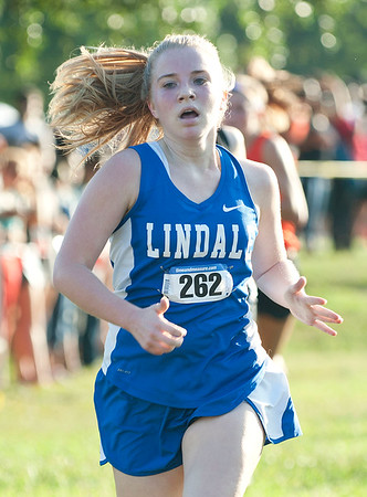 Lindale junior Mallory Welvaert runs in the varsity girls open division 5K medal at the Tyler Lee Cross County Classic held Saturday morning at the University of Texas at Tyler.   (Sarah A. Miller/Tyler Morning Telegraph)