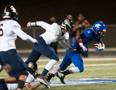 Grace Community School's (11) Matthew Harris carries the ball in the second quarter of their game against Houston Second Baptist their game at Clyde-Perkins Stadium in Tyler Friday Nov. 13, 2015.  (Sarah A. Miller/Tyler Morning Telegraph)