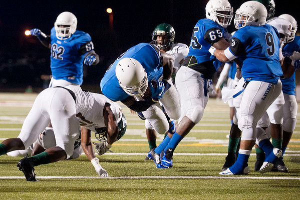 John Tyler's Martrevious Allison jumps into the end zone scoring a touchdown during their game against Longview in the Trinity Mother Frances Football Classic Saturday night.  (Sarah A. Miller/Tyler Morning Telegraph)