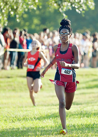 Robert E. Lee's junior Tonnecia Miller runs in the varsity girls open division 5K medal at the Tyler Lee Cross County Classic held Saturday morning at the University of Texas at Tyler.   (Sarah A. Miller/Tyler Morning Telegraph)