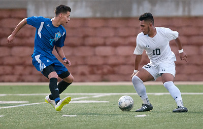 Coastal Bend College's (7) Randy Martinez stays close as Tyler Junior College's (10) Ricardo Gomez dribbles the ball at TJC Saturday afternoon Oct. 31, 2015.   (Sarah A. Miller/Tyler Morning Telegraph)