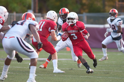 Trinity Valley Community College's Andre Wilson (3) carries the ball in the first quarter of their game against Nassau Community College at Bruce Field in Athens Saturday night.  (Sarah A. Miller/Tyler Morning Telegraph)