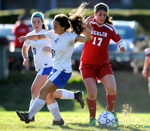 10/11/2016 Mike Orazzi | Staff Berlin's Danielle Skates (17) and Bristol Eastern's Jenny Soucy (3) during Tuesday's soccer match with in Bristol.