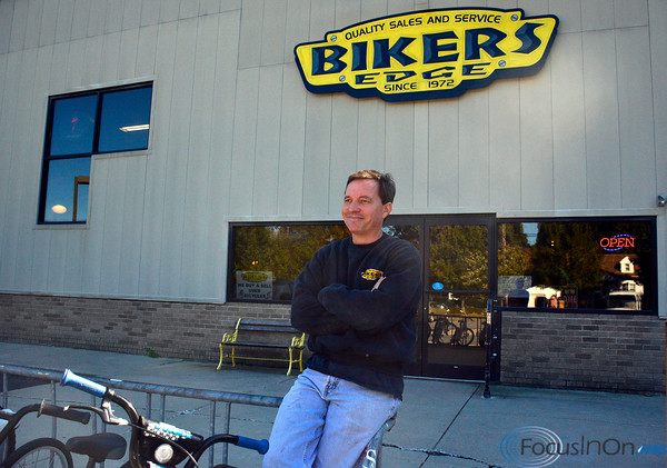 10/11/2016 Mike Orazzi | Staff Bikers Edge's Bob Desmarais outside the Route 6 location that will be moving to Main Street in Bristol next month.