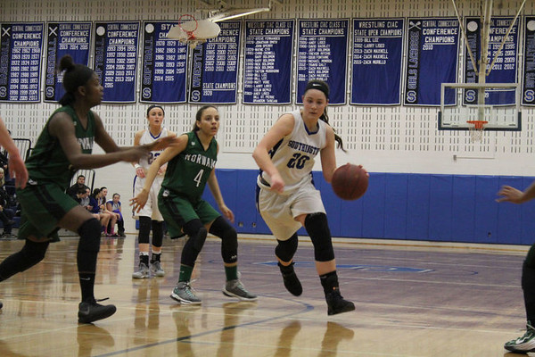 Natalie Wadolowski and the Southington girls basketball team will need to keep up the pace if the Blue Knights hope to beat a big, tough Greenwich team in the second round of the state tournament.